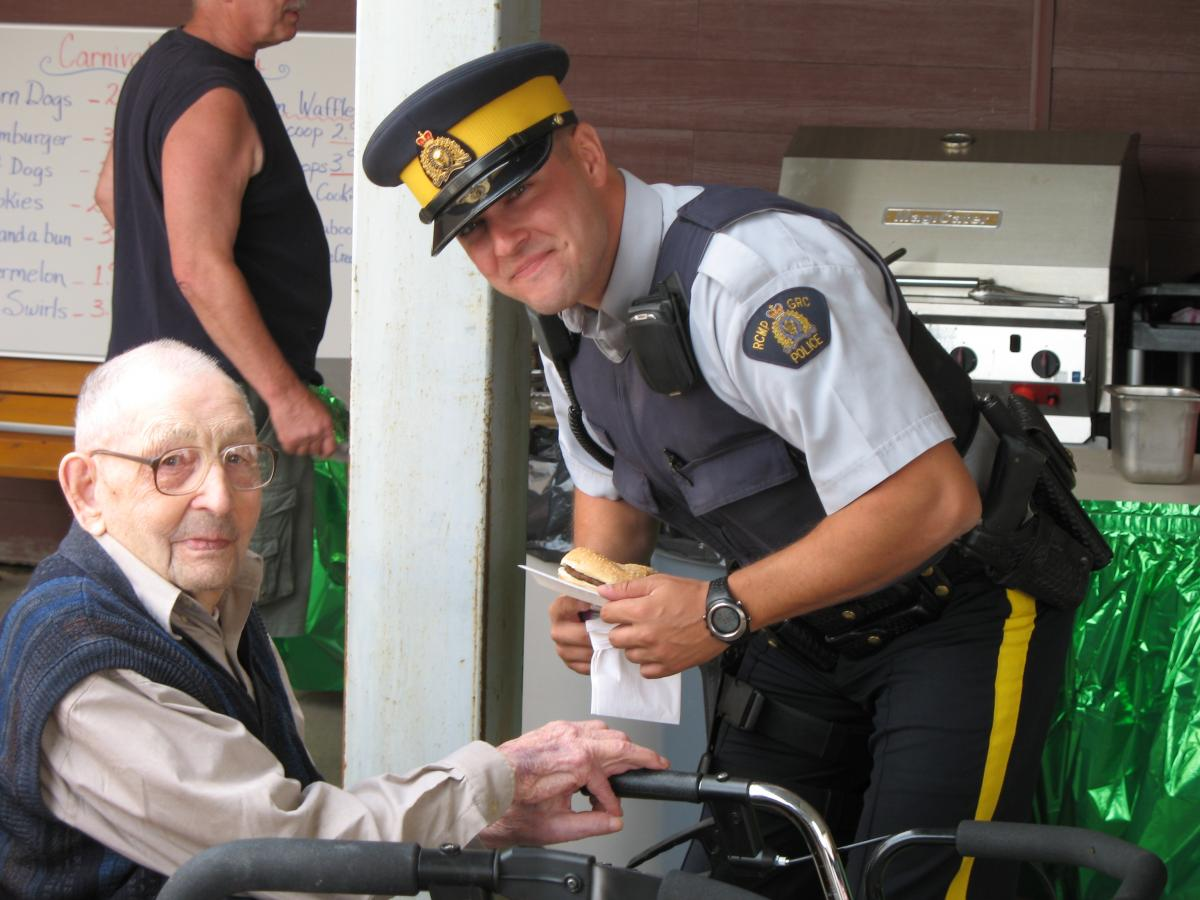 senior with police